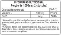 TABELA NUTRICIONAL - VITAMINA C + ZINCO